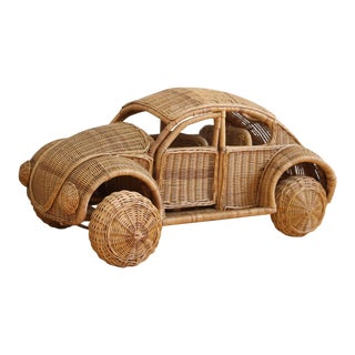 Vintage Oversized Wicker VW Beetle Car
