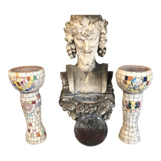 1950s Vintage Mosaic Style Old Pots With Base Stand- A Pair For Sale