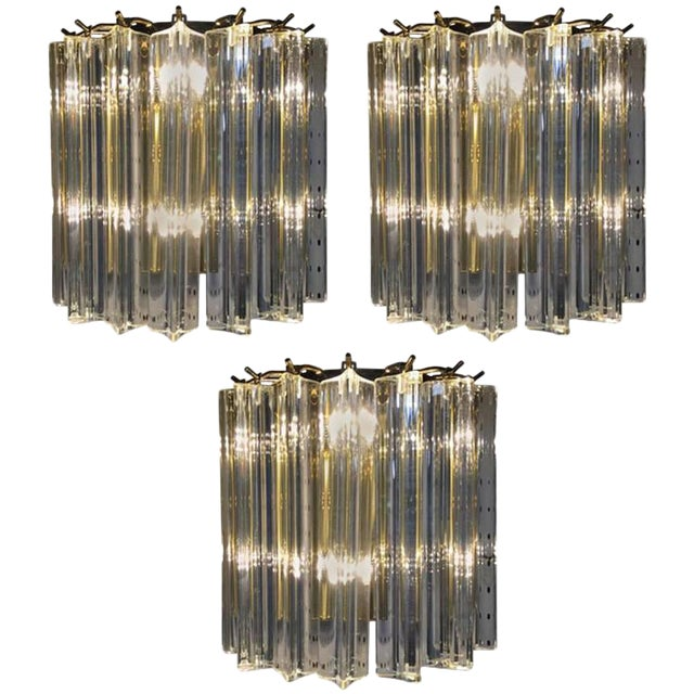Italian Mid-Century Venini Murano Glass Sconces - Set of 3 For Sale