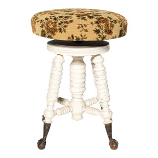Swivel Stool With Floral Cushion