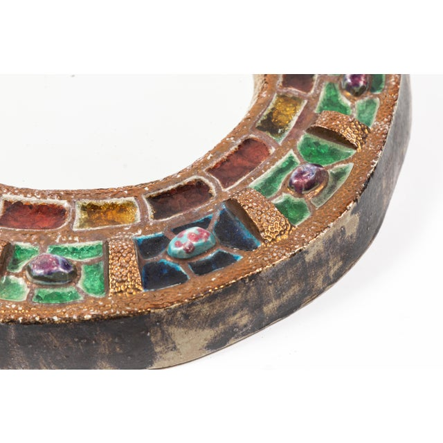 Colorful Ceramic & Glass Mirror by Guerin For Sale In Los Angeles - Image 6 of 7