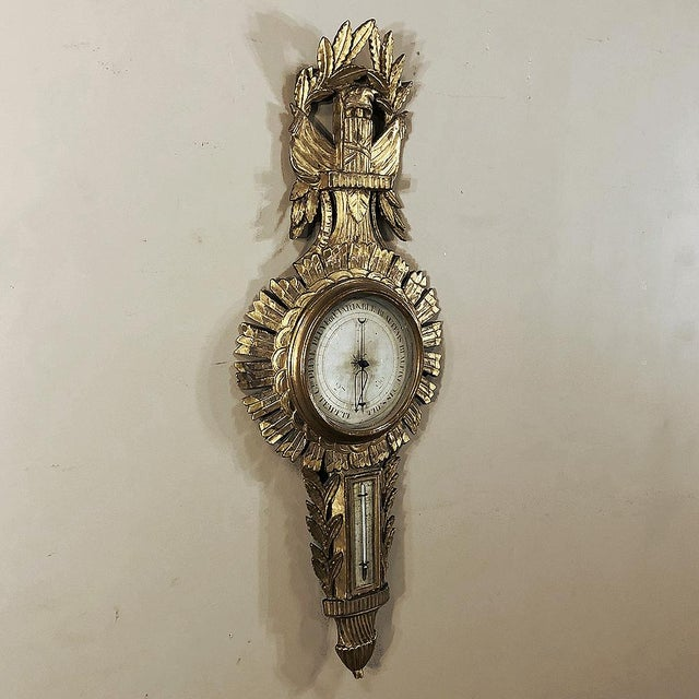 French 18th Century French Louis XVI Giltwood Barometer ~ Thermometer For Sale - Image 3 of 13