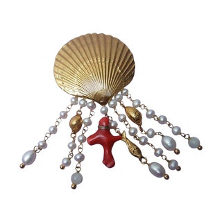Goossens Paris Scallop Shell Sea Life Brooch C 1990 For Sale