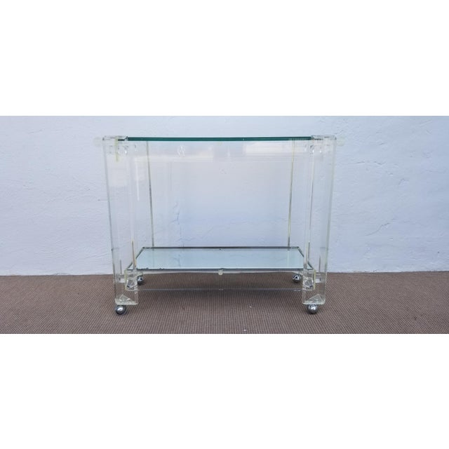 1970s Mid-Century Modern Lucite Mirrored Glass 2-Tier Bar Cart or Trolley For Sale - Image 11 of 12