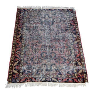1920's Distressed Persian Sarouk Kilim Rug - 4′10″ × 6′5″ For Sale
