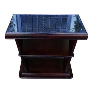 Unique Art Deco Side Table With Blue Mirror Top For Sale