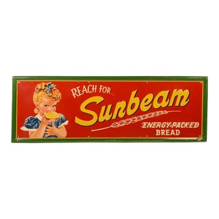Vintage Sunbeam Bread Sign Red, Red & Yellow Steel With Miss Sunbeam For Sale