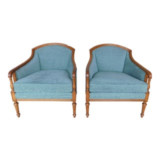 Baker Furniture Hollywood Regency Style Barrel Back Club Accent Chairs - a Pair For Sale