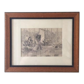 F. Luis Mora Pencil Sketch Double Sided in a Wooden Frame For Sale