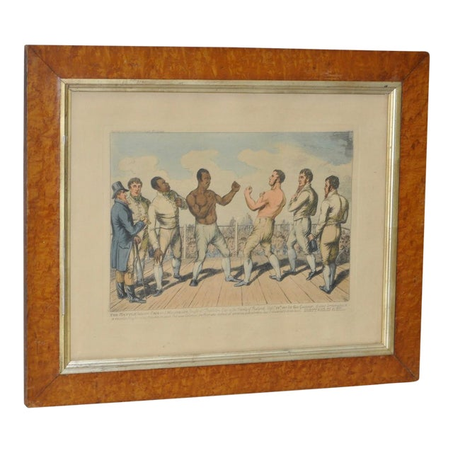 1811 Battle of Crib & Molineaux Color Engraving For Sale