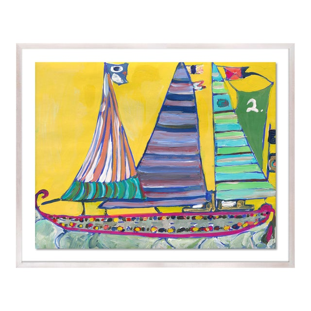 SB Bahamas by Lulu DK in White Wash Framed Paper, Medium Art Print For Sale