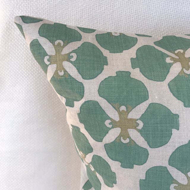 A pair of custom made pillows. Galbraith & Paul's hand blocked pattern in shades of aqua and green on 100% Belgium linen....