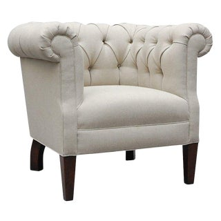 """Alston"" by Lee Stanton Tufted Armchair Upholstered in Belgian Linen For Sale"