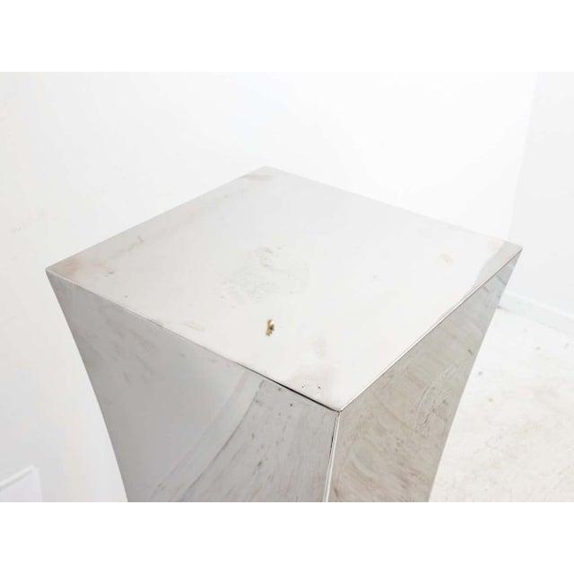 Metal Polished Nickel Concave Pedestal For Sale - Image 7 of 11