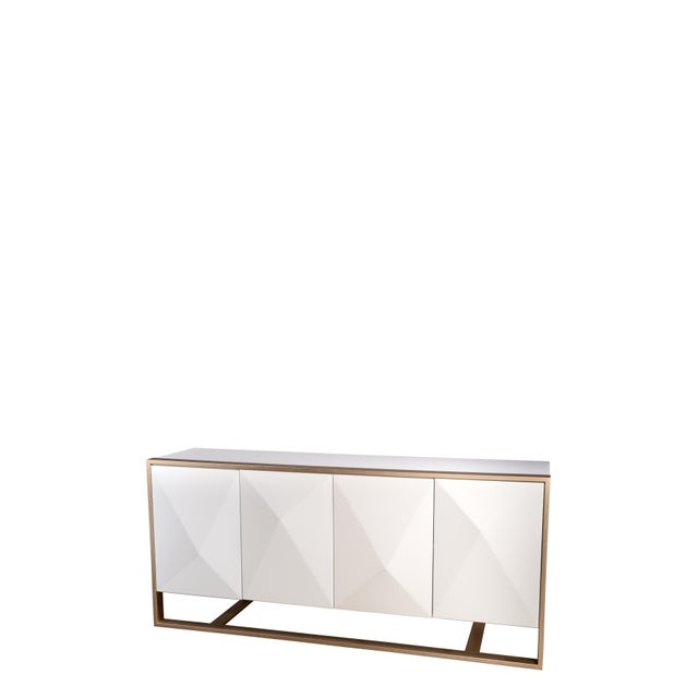 White Cleo Spike Wood Cabinet in White For Sale - Image 8 of 8