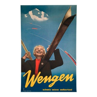 Wengen Swiss Ski Poster For Sale