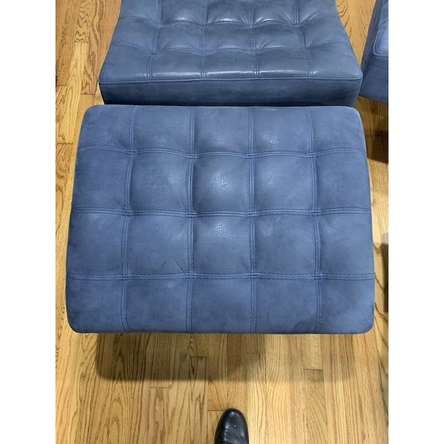 Post Modern Italian Leather Roche Bobois Swivel Lounge Chair and Ottoman For Sale - Image 10 of 12