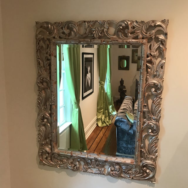 Art Deco Silver Brocade Large Wall Mirror For Sale In New York - Image 6 of 7
