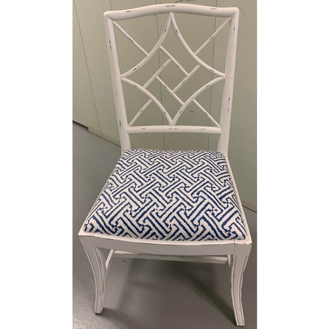 Antique white Bungalow 5 side chair. Newly upholstered in Quadrille grande java blue/white laminated fabric. Laminated...