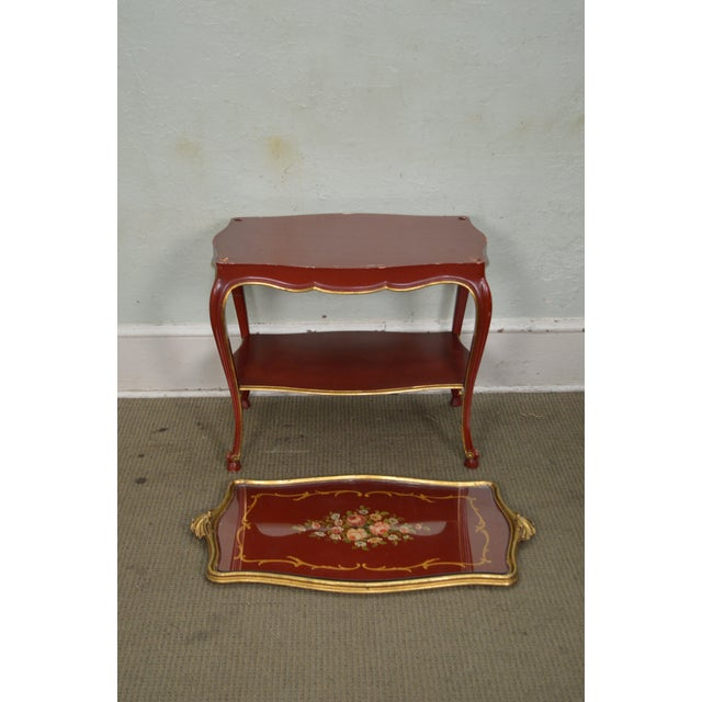 Rococo Hand Painted Partial Gilt Etagere 2 Tier Table - Image 4 of 11