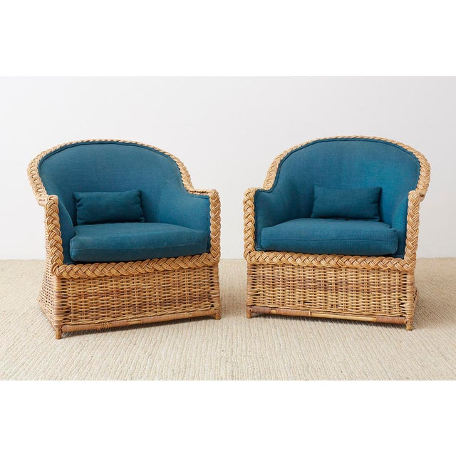Contemporary Pair of McGuire Rattan Wicker Lounge Chairs and Ottoman For Sale - Image 3 of 13
