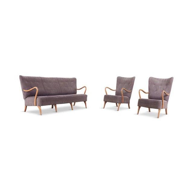 Scandinavian Organic Wingback Sofa For Sale - Image 9 of 10