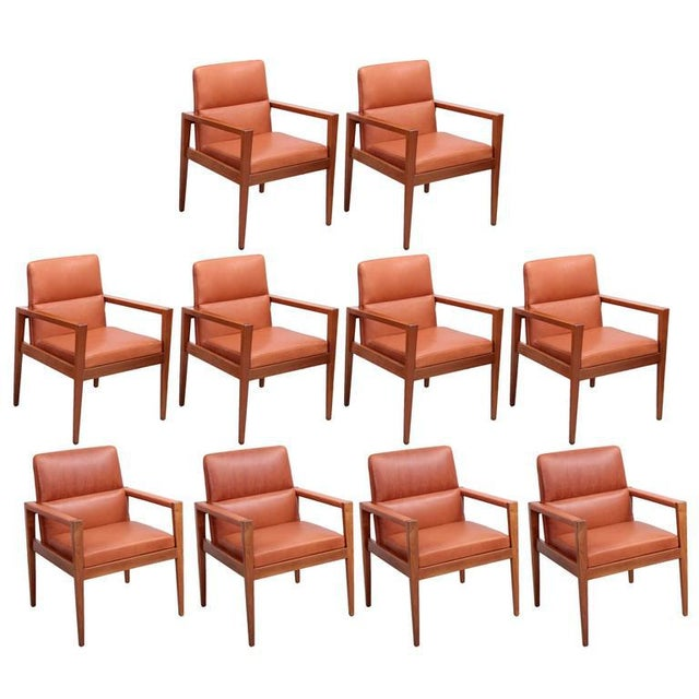 Set of Ten Labeled Jens Risom Armchairs in Walnut in Cognac Leather For Sale - Image 9 of 9
