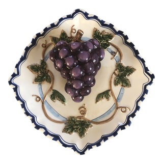 Vintage Bella Casa Ceramic Decorative 3-D Hanging Dinner Plate of Grapes by Ganz For Sale