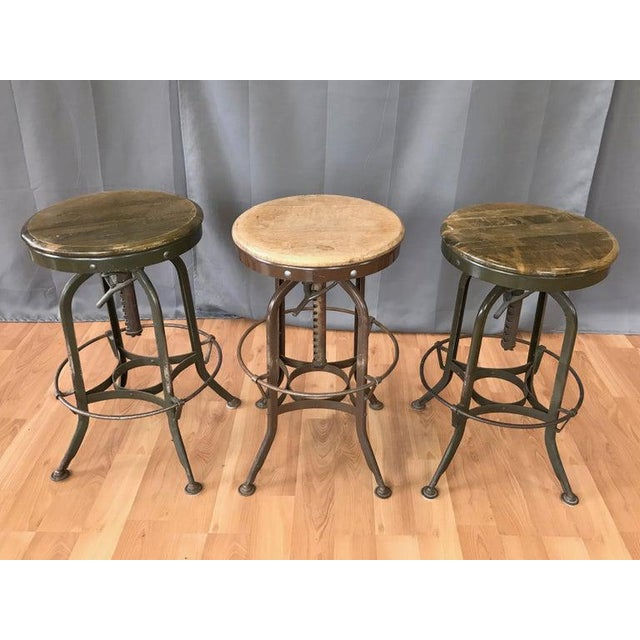 Industrial Toledo Industrial Adjustable Height Backless Swivel Stools, Three Available For Sale - Image 3 of 13