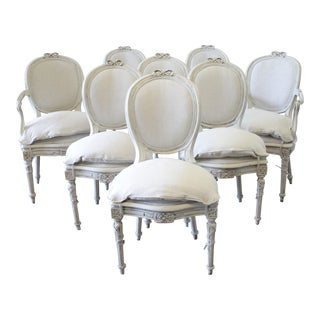 1900s Louis XVI Style Painted and Upholstered Dining Chairs - Set of 8 For Sale