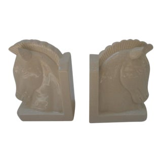 Vintage Weighted Ceramic Art Deco Horse Bookends- a Pair For Sale