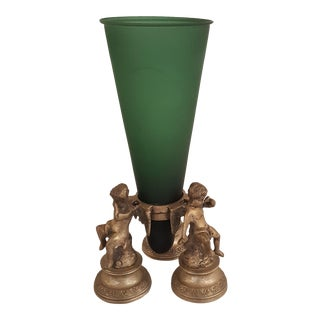 Maitland Smith Green Glass and Brass Epergne For Sale