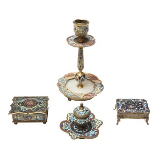 Collection of Early 20th Century European Cloisonne Boxes / Candlestick For Sale