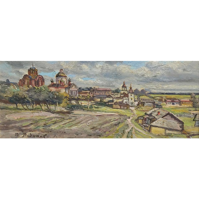 Realism Tatyana Radimova -Khotkovo Village Landscape-1968 Russian Oil Painting For Sale - Image 3 of 10