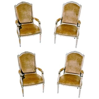 Set of Four Chairs of Italian 19th Century Neoclassical Armchairs For Sale