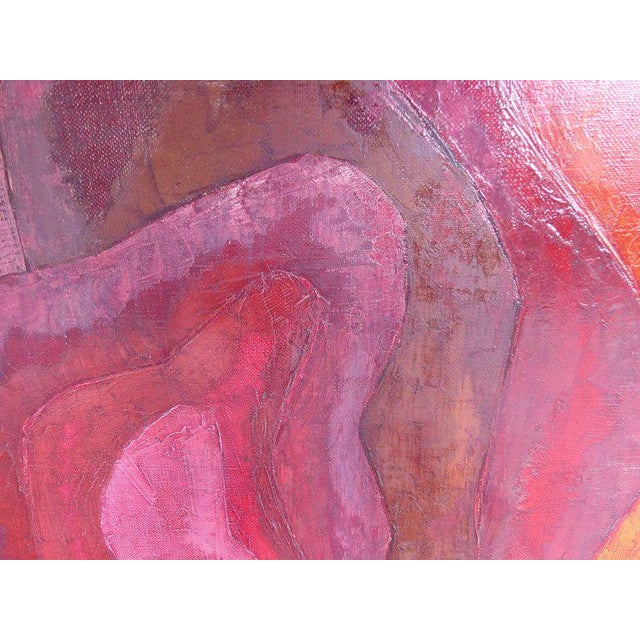 Offered for sale is an abstract oil painting by Luis Quintanilla with sinuous pink and purple shapes creating visual...