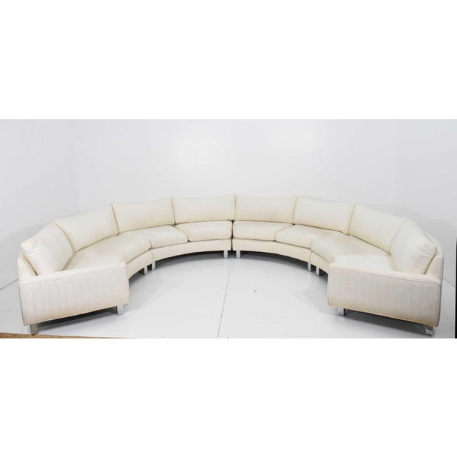 Large Milo Baughman White Upholstered Four Section Circular Sofa For Sale - Image 9 of 13