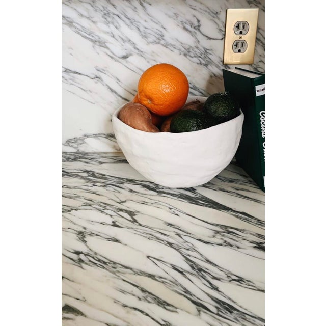 Modern White Raw Plaster Decorative Round Bowl For Sale - Image 4 of 8