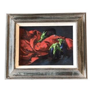 Original Vintage Still Life Painting Eggplant & Red Drape For Sale