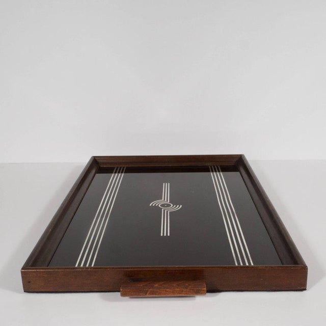 Art Deco Machine Age Streamlined Sterling Silver Glass Tray, Walnut Perimeter For Sale In New York - Image 6 of 11