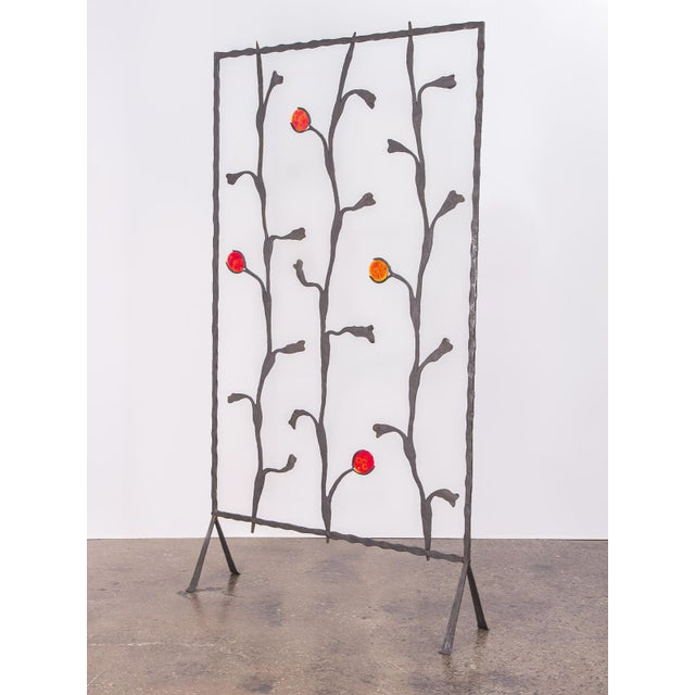 Metal Decorative Mid-Century Modern Artisan Iron Screen For Sale - Image 7 of 9