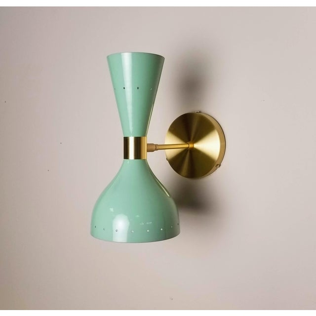 Mid-Century Modern Ludo Wall Sconce in Brass + Mint Green Enamel Handmade by Blueprint Lighting Nyc For Sale - Image 3 of 6