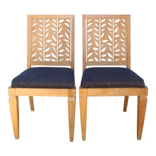 Modernist Pickled Oak Side Chairs With Leaf Cutouts, a Pair For Sale