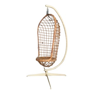 Mid Century Rattan Hanging Pod Chair With Stand For Sale