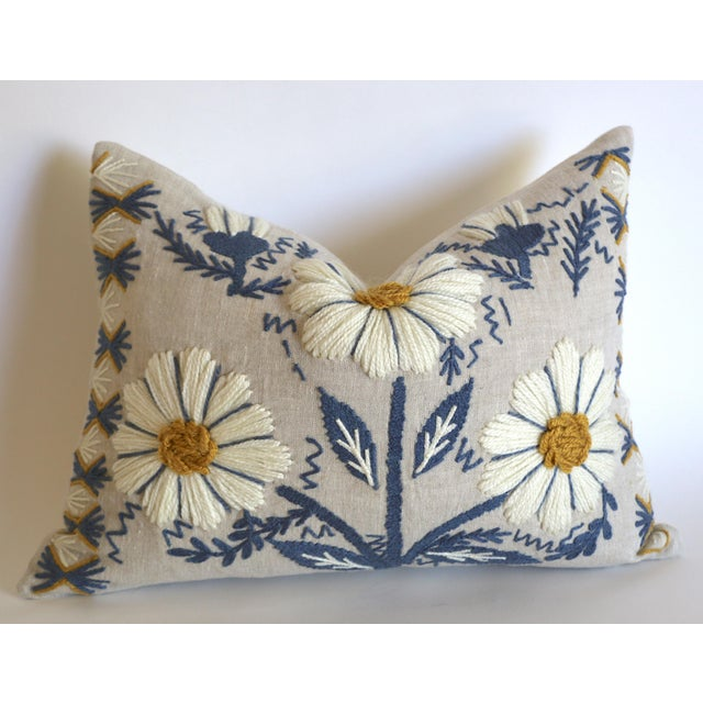 Not Yet Made - Made To Order Swedish Schumacher Embroidered Pillow Cover in Blue, Ochre, & Natural For Sale - Image 5 of 5