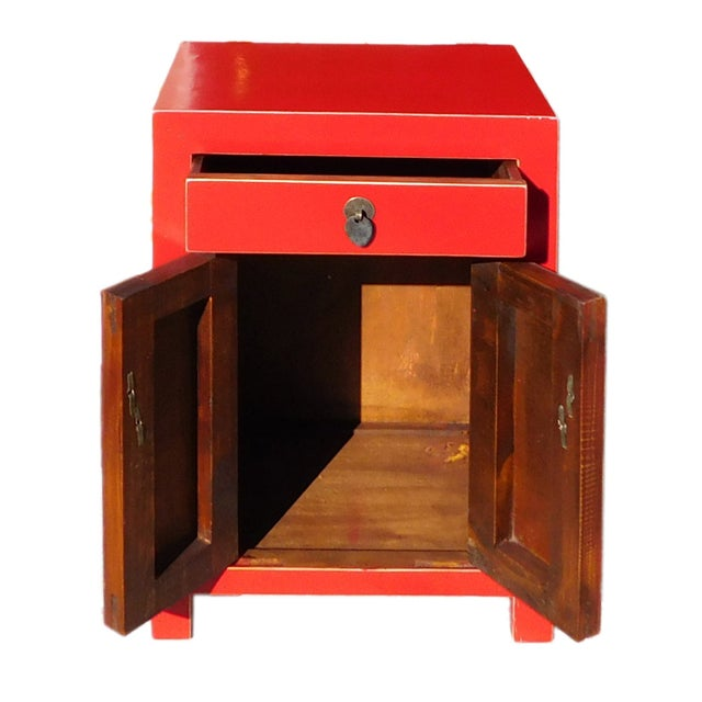 Chinese Red Round Moon Face Cabinet Side Table - Image 4 of 5