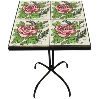 Tile Top Wrought Iron Base Plant Stand Table For Sale