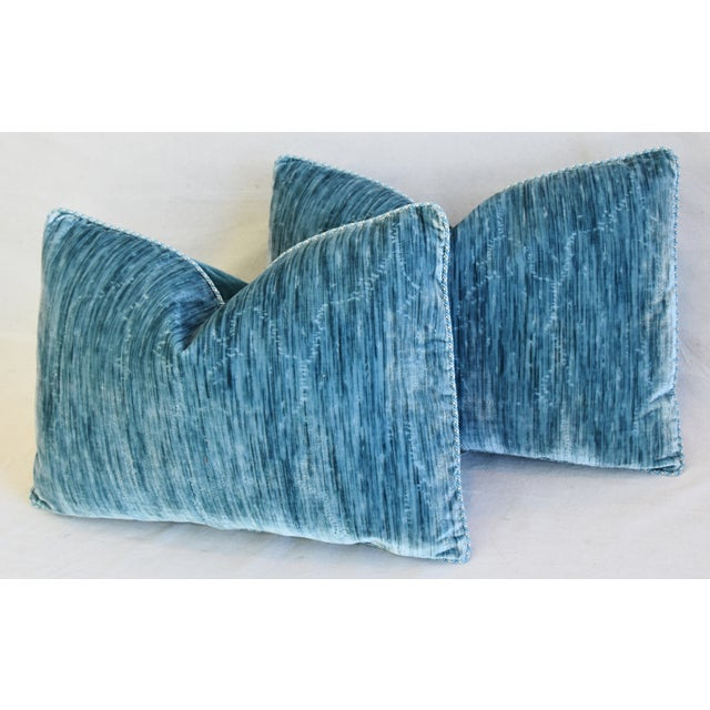 """Blue Scalamandre & Clarence House Velvet Fabric Feather/Down Pillows 24"""" X 16"""" - Pair For Sale - Image 8 of 13"""