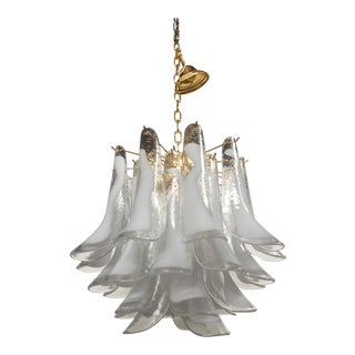 Italian Sella White and Transparent Gold Metal Frame Murano Glass Chandelier For Sale
