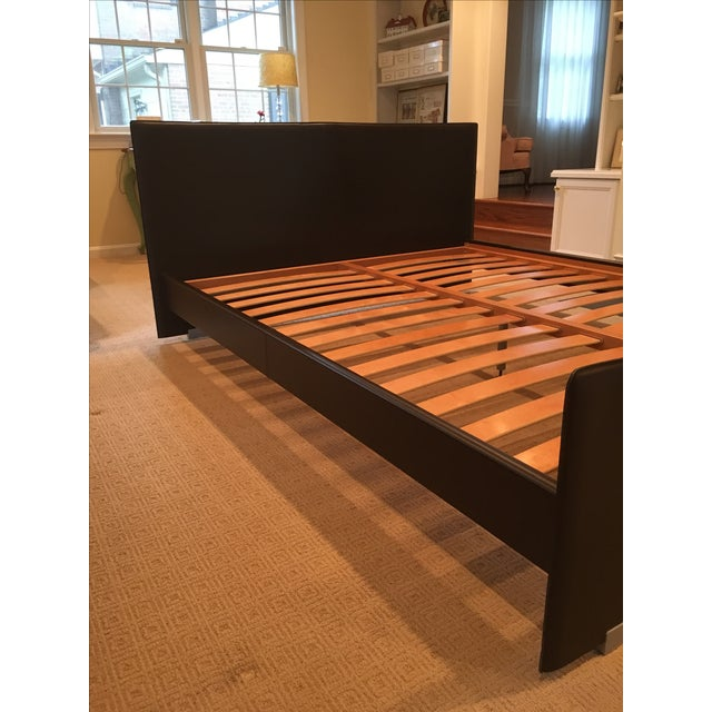 Brown Leather Platform Queen Bed - Image 3 of 9